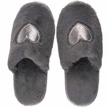 Antracietgrijze dames sloffen/slippers met hartjes