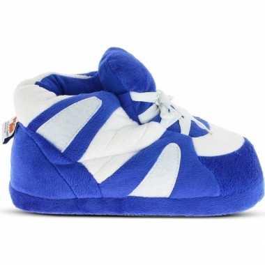 Blauw/witte sneaker model sloffen/sloffen voor dames