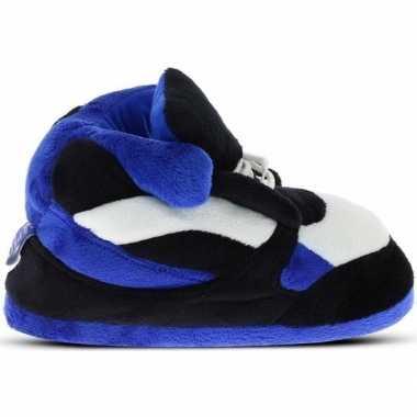 Blauw/zwart/witte sneaker model sloffen/sloffen voor heren