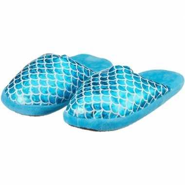 Cadeau kinderslofjes/sloffen zeemeermin/mermaid blauw met anti slip z