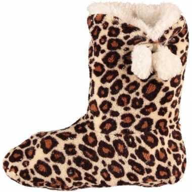 Dames pantoffel sokken luipaard motief in het bruin