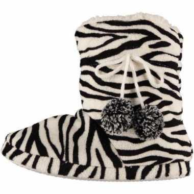 Dames sloffen zebra motief in het zwart
