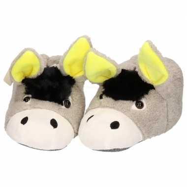 Dieren sloffen/sloffen donkey/ezel voor meiden/dames in maat 37/38