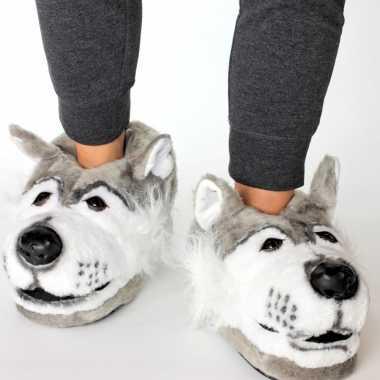 Dieren sloffen/sloffen grijze wolf voor kinderen maat 34 36
