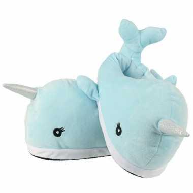 Dieren sloffen walvis narwaii en friends lichtblauw voor volwassenen