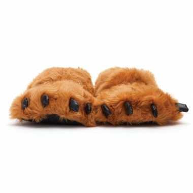 Dierenpoot sloffen/sloffen beer voor volwassenen bruin 45/47
