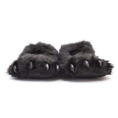 Dierenpoot sloffen/sloffen beer voor volwassenen zwart 45/47
