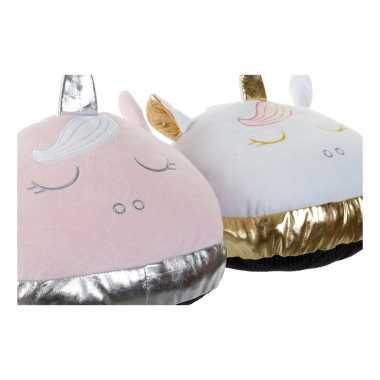 Eenhoorn voetenwarmer slof roze voor meisjes/dames