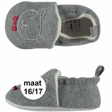 Geboorte kado jongetje baby slofjes met beer maat 16/17