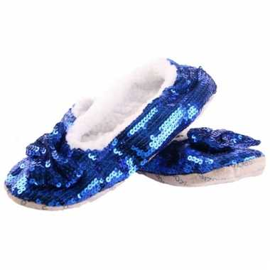 Glitter sloffen blauw