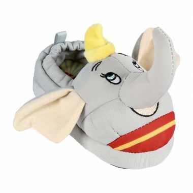 Grijze disney dumbo/dombo het olifantje kinder sloffen 3d voor kinder