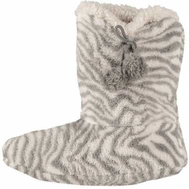Grijze hoge huissloffen/sloffen zebra voor dames