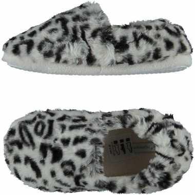 Grijze panterprint/luipaardprint ballerina sloffen/sloffen voor meisjes