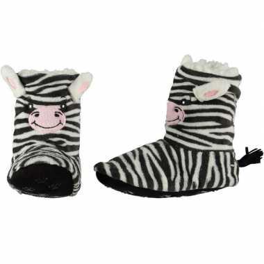 Hoge huissloffen/sloffen zebrapaarden voor kinderen