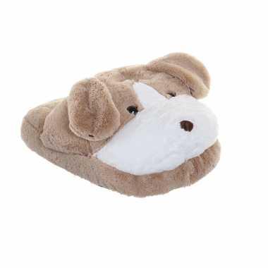 Honden voetenwarmer slof beige voor kinderen/volwassenen