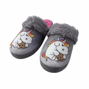 Instap pantoffel eenhoorn/pummeleinhorn grijs dames mt 36 37