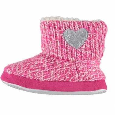 Kinder huis boots grof gebreid roze maat 23 24