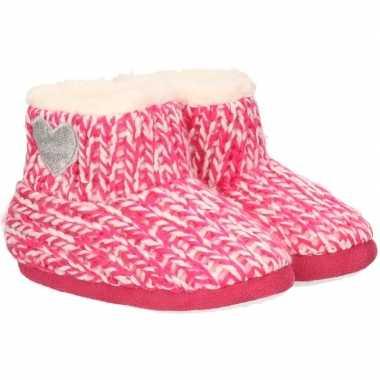 Kinder huis boots grof gebreid roze maat 25 26