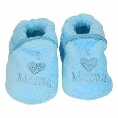 Kraamcadeau blauwe babyslofjes/sloffen love mama