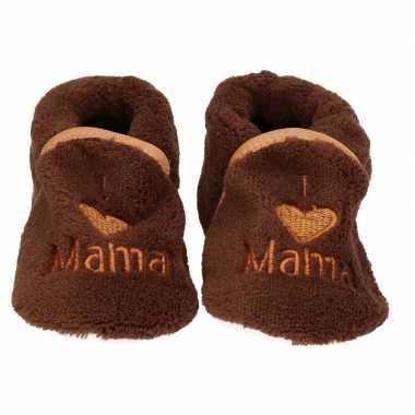 Kraamcadeau bruine babyslofjes/sloffen love mama