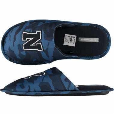 Navy blauwe camouflage instap sloffen/sloffen voor heren