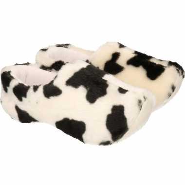Pluche klompen sloffen/sloffen met koeien print voor heren/volwassenen