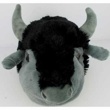 Pluche warme dieren sloffen koe/stier met hoorns voor dames maat 41/4