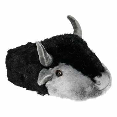 Pluche warme dieren sloffen koe/stier met hoorns voor heren maat 43/4