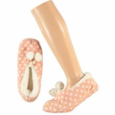 Roze ballerina huissloffen/sloffen stipjes print voor meisjes maat 28