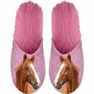Roze/bruine paardjes instap sloffen/sloffen voor volwassenen