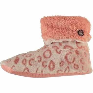 Roze hoge omslag huissloffen/sloffen panterprint voor dames