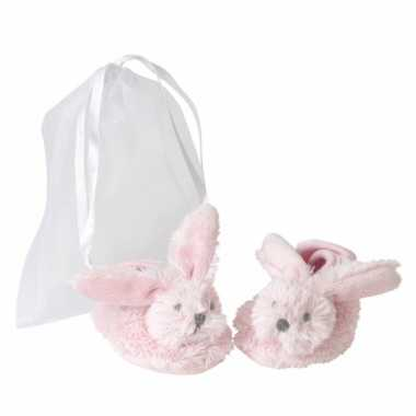 Roze konijnen baby slofjes van happy horse