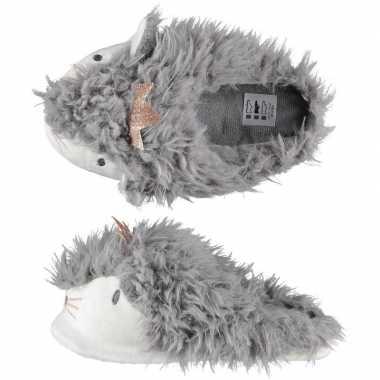 Sloffen/sloffen instappers grijze alpaca voor dames