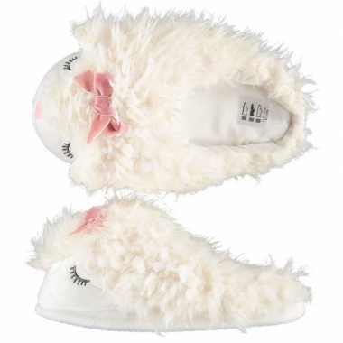 Sloffen/sloffen instappers witte alpaca voor dames