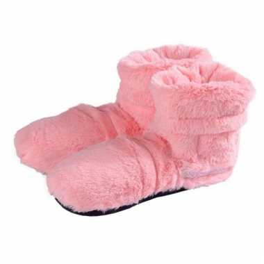 Warme damessloffen roze pluche