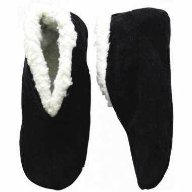 Warme wollen zwarte spaanse sloffen/sloffen voor dames/heren/volwasse