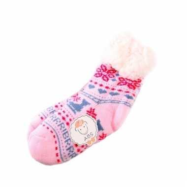 Wintersokken roze/blauw voor kinderen