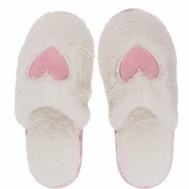 Witte dames sloffen/slippers met hartjes