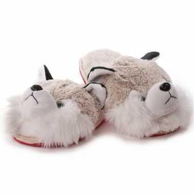 Witte/grijze husky hond instap sloffen/sloffen voor dames
