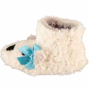 Witte hoge huissloffen/sloffen ijsberen voor meisjes/peuters