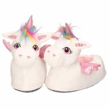 Witte/roze eenhoorns sloffen/sloffen hoog model voor dames