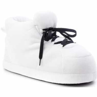 Witte sneaker model sloffen/sloffen voor dames