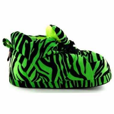 Zachte sloffen voor meisjes tijger groen