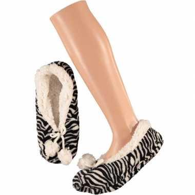Zwart/witte ballerina huissloffen/sloffen zebraprint voor dames maat