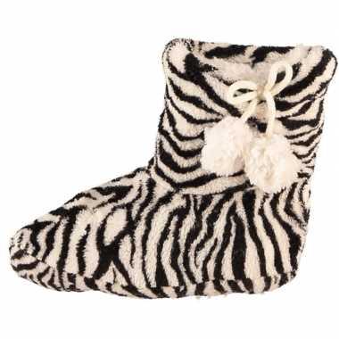 Zwart/witte zebra print meisjes sloffen