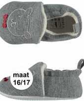 Geboorte kado jongetje baby slofjes met beer maat 16 17