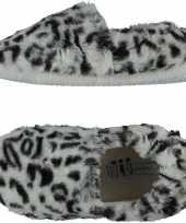 Grijze panterprint luipaardprint ballerina sloffen sloffen voor meisjes