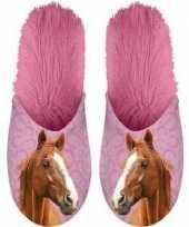 Roze bruine paardjes instap sloffen sloffen voor volwassenen