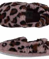 Roze panterprint luipaardprint ballerina sloffen sloffen voor meisjes
