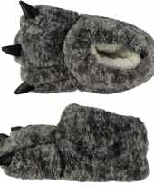 Zachte dieren sloffen monsterpoot grijs voor kids